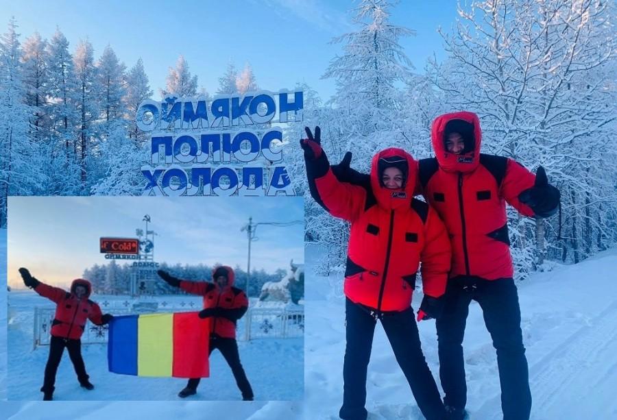 Doi români au ajuns la polul frigului din Siberia, localitatea Oymyakon, cu o mașină românească