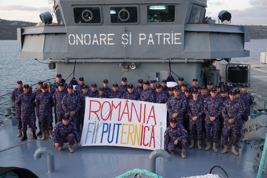"""Mesajul echipajului navei militare """"Viceamiral Constantin Bălescu"""", aflat la peste 1.000 de mile marine depărtare de casă"""