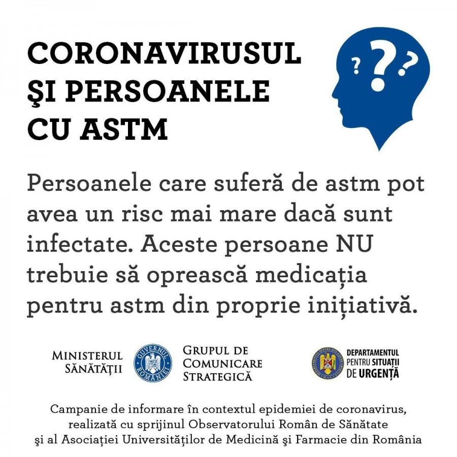 #STĂMACASĂ: Persoanele cu astm sunt sfătuite să rămână în locuințe