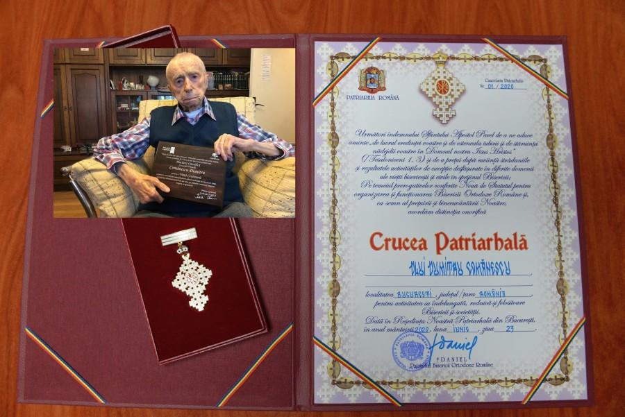 Dumitru Comănescu, cel mai vârstnic bărbat din lume, distins cu Crucea Patriarhală
