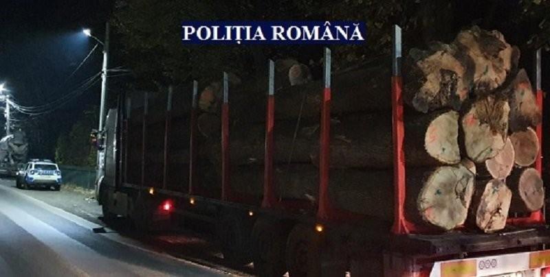 Lemn fără acte identificat de polițiști, transportat pe șoselele județului