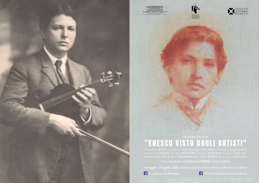 """Expoziția de artă """"ENESCU VĂZUT DE ARTIȘTI"""" prezentată online de Accademia di Romania și Muzeul Național George Enescu"""