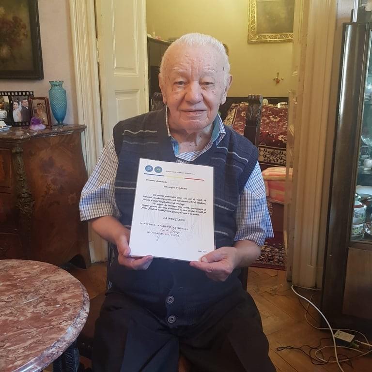 Veteranul de război Gheorghe Țigăeru, sărbătorit la împlinirea vârstei de 101 ani
