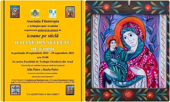 Pictăm să ajutăm! Tinerii de toate vârstele din Arhiepiscopia Aradului vor organiza o Expoziție de Icoane pe sticlă în scop caritabil
