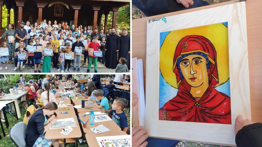 """Ce minuni pot face niște mâini dibace! Copiii din Arhiepiscopia Aradului au pictat """"icoane din suflet de copil"""" în scop caritabil"""