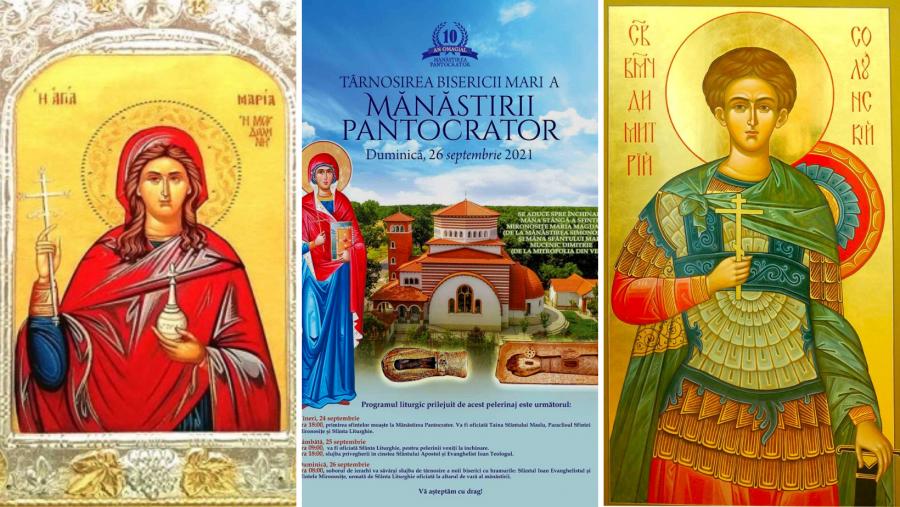Moaştele Sfintei Maria Magdalena și ale Sfântului Dimitrie Izvorâtorul de Mir ajung vineri în România