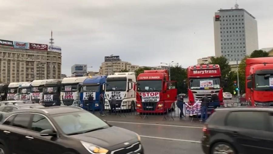 Protest al transportatorilor în Capitală. Mitingul de la Arad a fost anulat