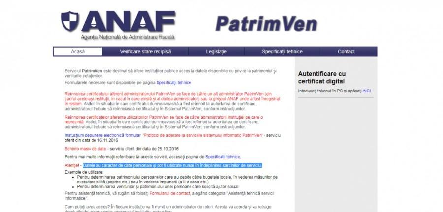 Autorităţile publice, atenţionate de Fisc: înrolarea în PatrimVen devine obligatorie începând cu 1 martie 2022